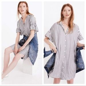 Madewell Striped Courier Ruffle Sleeves Dress